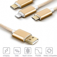 Nylon Braided 3 in 1  multiple USB charging cable for APPLE+Micro+Type C