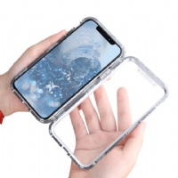 Magnetic Adsorption Case Metal Frame Tempered Glass with Built-in Magnet Cover for iPhone 7/8/7plus/8plusx/xs/xs max, Samsung S10/10plus/10Lite